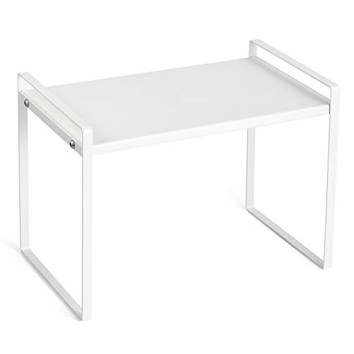 Countertop Organizer Cupboard Stand Spice Rack 13quot Cabinet Pantry Shelf Organization and Storage For Kitchen Bathroom Metal Plate Milky White