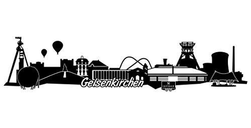 Samunshi® Gelsenkirchen Skyline Aufkleber Sticker Autoaufkleber City Gedruckt in 7 Größen (15x3,4cm schwarz)