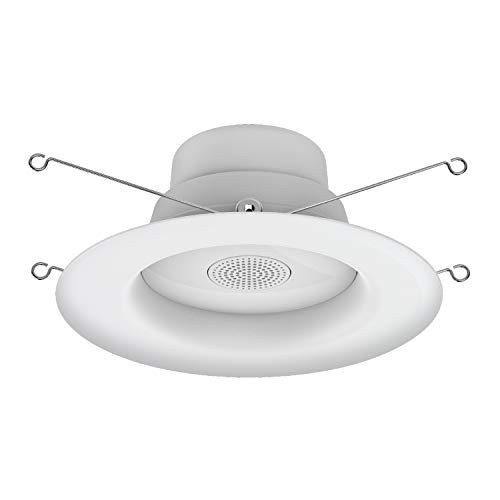 GE Lighting 93097006 LED+ Speaker Recessed 6-Inch Downlight, Bluetooth Enabled with Remote 65-Watt Replacement RS6, Soft White