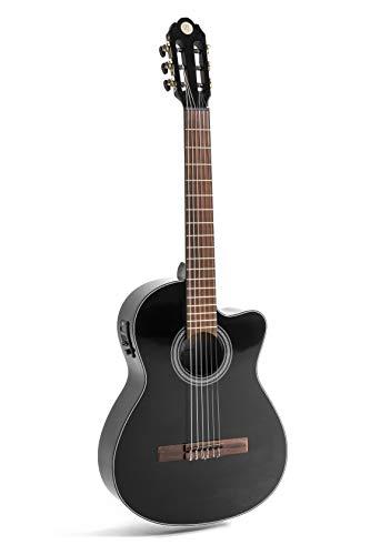 NAVARRA elektro special dark moon NV162, e acoustic guitarra clásica 4/4, negro