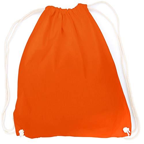 vanVerden - Turnbeutel aus Baumwolle - Orange blanko/unbedruckt - oranger Stoff-Beutel mit Kordelzug Verschluss