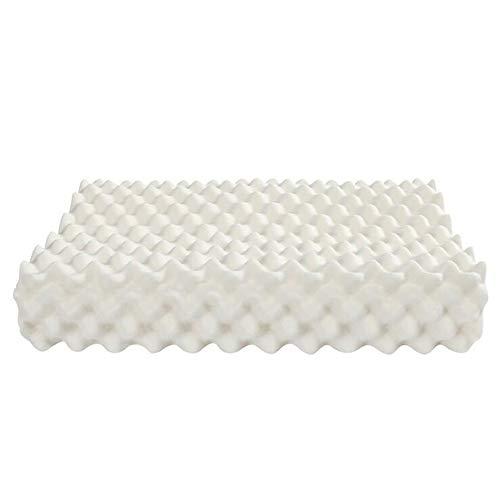 RXRENXIA Almohada De Látex - Talalay Hipoalergénico para El Sueño, Espuma Natural, Formato De Masaje Granular Ortopédico Medio (Blanco, 2 Cubiertas, 60 Cm X 40 Cm X 14 Cm)