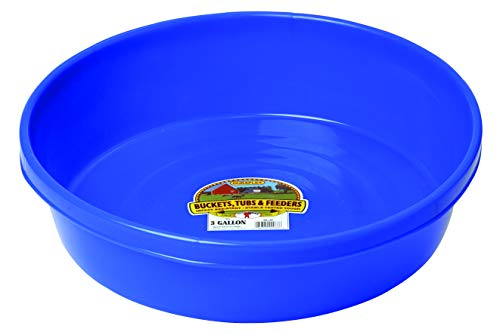 Little Giant Plastic Utility Pan (Blue) Durable & Versatile Short Livestock Feeding Bucket (3 Gallon) (Item No. P3BLUE)