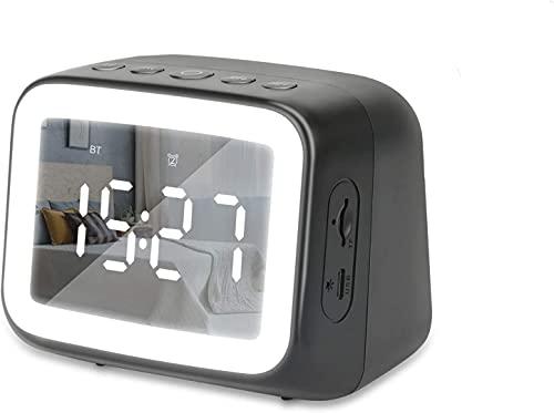 多機能 めざまし時計 置き時計 スピーカー bluetooth クロック デジタル時計 卓上 アラーム 温度計 LEDベッドサイドランプ 目覚まし ミラー表面 大音量 おしゃれ 子供 オフィス 寝室 室内 化粧 メイク プレゼント ギフト 日本語取扱説明書