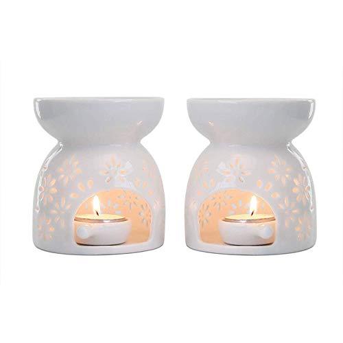Liseng - Portacandela in ceramica per candela, aroma, aroma, aroma, decorazione per la casa, set da 2 pezzi, motivo floreale