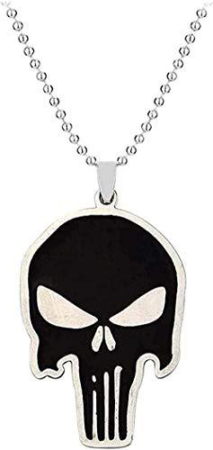 Yiffshunl Collar de Moda con Colgante de Calavera Negra Colgante de Fantasma de Calavera Punk Collar de Hombre Declaración Larga