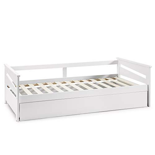 VS Venta-stock Cama Nido Juvenil Emma 90X190, Color Blanco, Dimensiones: 199cm (Largo), 105cm (Ancho) y 62cm (Alto)