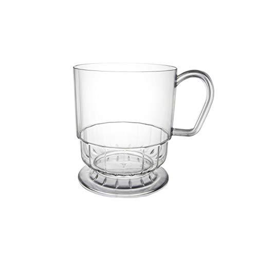 Party Essentials Canecas de chá/café de plástico rígido de 236 ml com alças, 50 unidades, Deluxe transparente