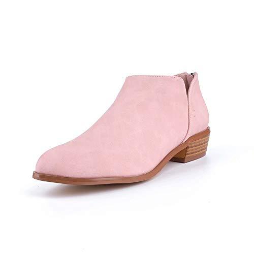 Botines Mujer Tacon Medio Botas Chelsea Piel Casual Planas Zapatos Fiesta Otoño Calzado Ankle Boots 5cm Tacon Negros Beige Rosa 35-43 EU Rosa 38