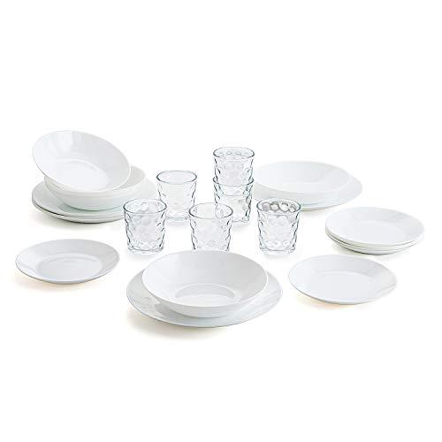 Arcopal Vajilla Blanca Completa para 6 Personas 18 Set de 6 Vasos de Vidrio 26cl, Opal, Único, 19 Piezas