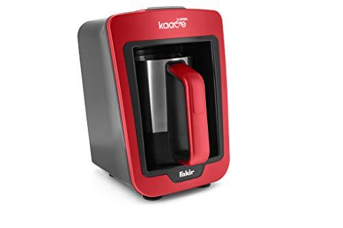 Fakir Kaave Steel – Türkische Mokka-Maschine I Elektrische Kaffeemaschine mit 4 Tassen Fassungsvermögen I Inklusive Messlöffel I Einfache One-Touch-Steuerung I 735 Watt I Rot/Edelstahl
