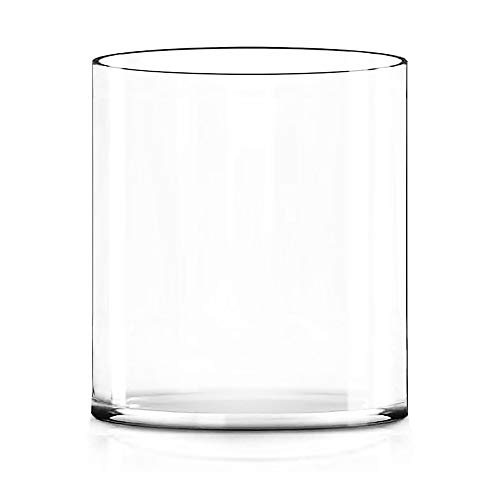 """CYS EXCEL 10"""" Wide Vase, Hand blown-Glass Cylinder Vase thickness 1/4"""", Flower Vase, Floating Candle Holder, Decorative Centerpiece, Water Plant Aquarium (10"""" wide x 12"""" tall)"""