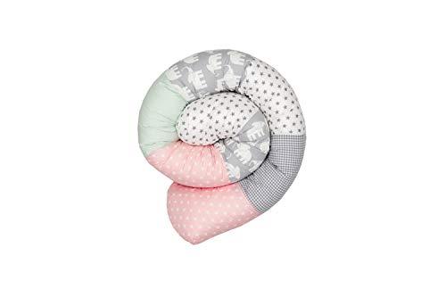 Cojín protector para cuna de ULLENBOOM  cojín chichonera en forma de serpiente elefantes menta rosa (ideal para proteger al bebé de los barrotes de la cuna o como cojín de apoyo)