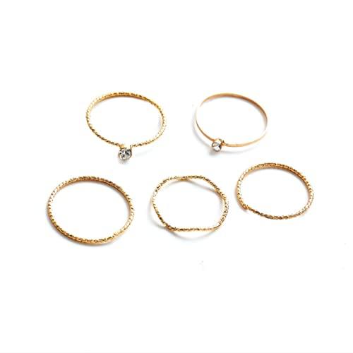 Larancie Boho - Juego de 5 anillos para dedos de estilo vintage con diamantes de imitación tallados con nudillos - Accesorios de moda para mujeres y niñas (dorado)