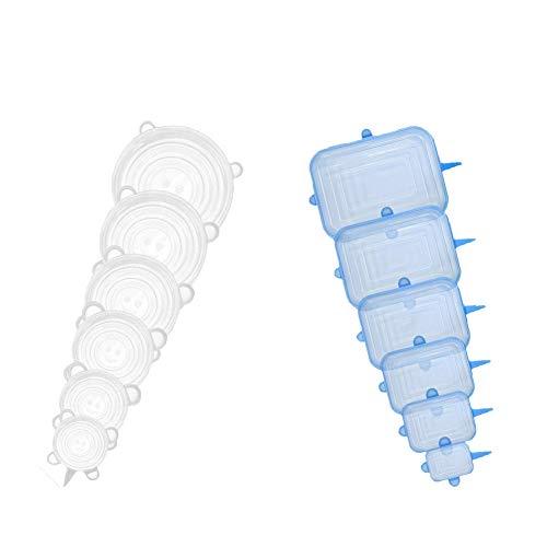 VKAR Coperchi in Silicone, Coperchi in Silicone Estensibile, 12 Coperchi in Silicone per alimentare Adatti per Ciotole, Lattine, Bicchieri, ECC - BPA Free (Rotondo Bianco, Rettangolare Blu)