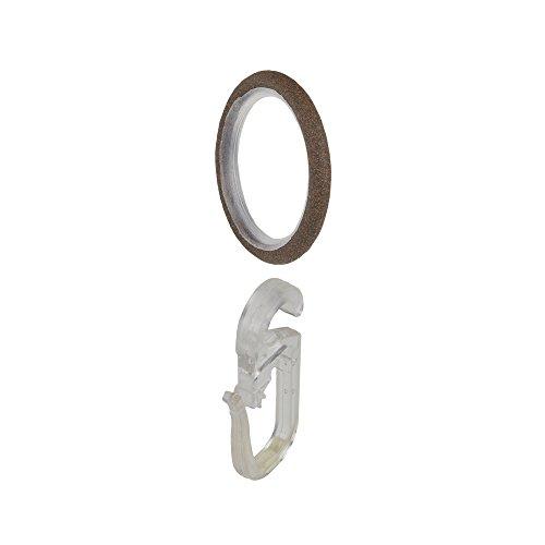 Liedeco Stilring, Gardinenring mit Gleiteinlage und Faltenlegehaken für Gardinenstangen 16 mm ø Esperanca | rost-antik | 10 Stück