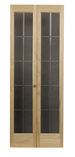 LTL Home Products 853720 Pioneer Full Glass Interior Bifold Solid Wood Door, 24 Inches x 80 Inches, Unfinished Pine