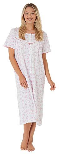 Damen-Nachthemd, 100 % Baumwolle, Jersey, Schmetterlings-Druck, Knopfleiste, Kirschrot, Marineblau oder Aqua. Größen: 36-38, 40-42, 44-46, 48-50, 24-54 Gr. 48/50 DE, korallenrot