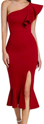 UOKNICE Dresses for Womens Casual Fashion Ruffle One Shoulder Cocktail Party Club Mermaid Pencil product image