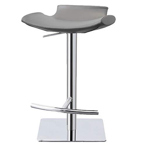 LIUSIXIAO stoeltjeslift, roestvrijstalen roterende barstoel, moderne minimalistische Scandinavische barkruk in hoogte verstelbaar, geschikt voor: bar, coffeeshop, balie, uitcheckbalie, 2 kleuren Grijs
