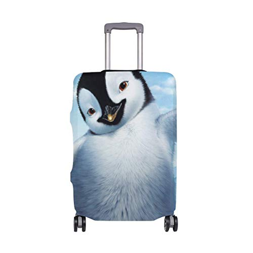 Travel Lage Cover Happy Feet Penguin Suitcase Protector Fits 26-28 Inch Washable Baggage Covers