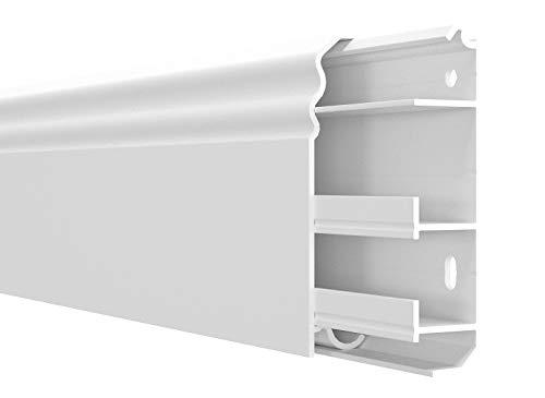 Cable Coach 6 m Sockelleiste Berliner Profil 20x80 mm aus PVC, mit integriertem Kabelkanal, Farbe: Weiß, Höhe: 80 mm (4 Stück Länge 1,5 m)