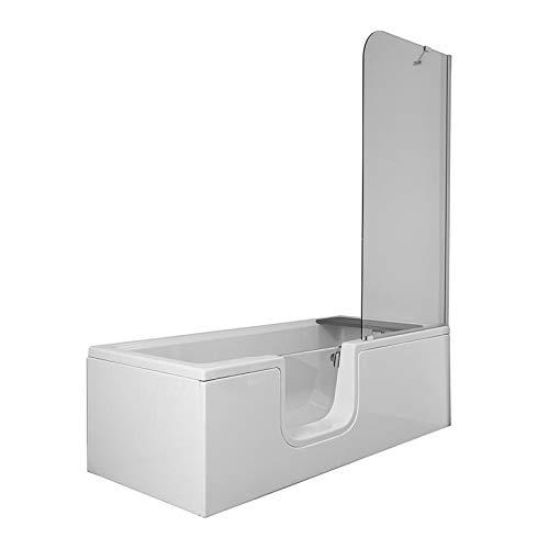 VitrA Conforma Combo rechthoekige badkuip met douchewand links | incl. Afvoer- en overloopgarnituur | onderstel voorgemonteerd | uitneembare deur met veiligheidsvergrendeling voor eenvoudige instap.