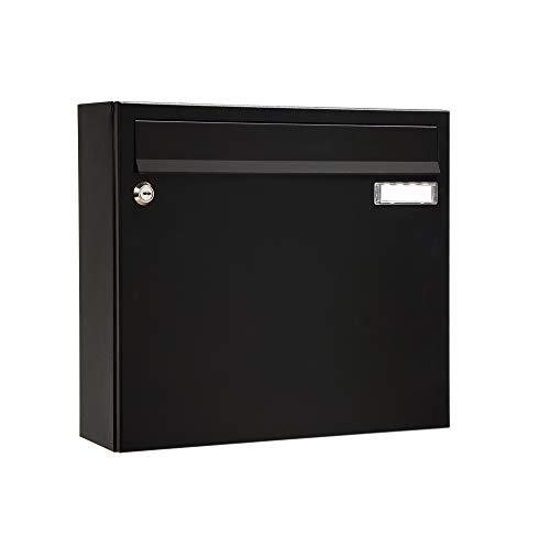 MEFA Briefkasten Sonate 131 mit Namensschild (Farbe schwarz, Postkasten mit Schloss, Größe 330x370x101 mm) 131220