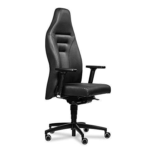 Gamechanger Gaming Stuhl XL - bis 200kg - ergonomische Synchronmechanik, atmungsaktives Kunstleder, verstellbare Lordosenstütze, Bürostuhl - Made in Germany (ungepolsterte Armlehnen, Sitztiefe 47cm)