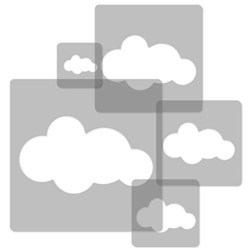 5 Stück WIEDERVERWENDBARE Schablonen aus Kunststoff // CLOUD # 2 // Wolke // 34 x 34 cm bis 9 x 9 cm // Kinder Room Decor // Kinderzimmer Vorlage