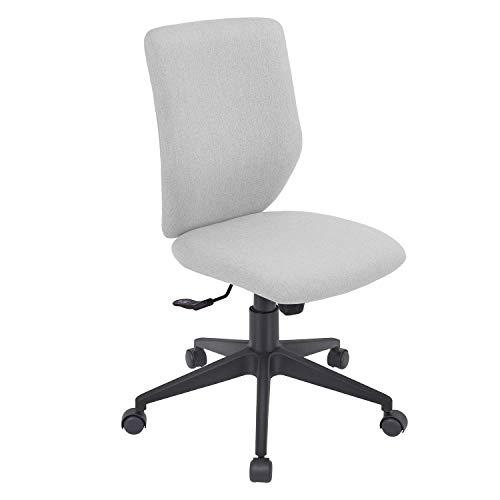Bowthy Bürostuhl ohne Armlehnen, ergonomischer Computerstuhl, Schreibtischstuhl, ohne Armlehnen, mittellehne, Stoffdrehstuhl (hellgrau)