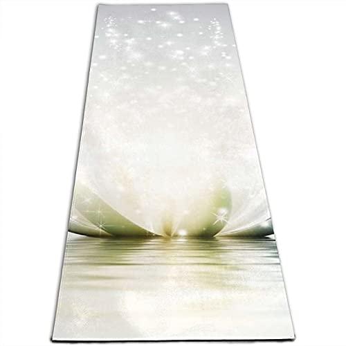 Lotus Petals - Esterilla de yoga con impresión de 5 mm de grosor, antideslizante, para todo tipo de yoga, pilates y ejercicios de suelo (180 cm x 61 cm x 0,5 cm)