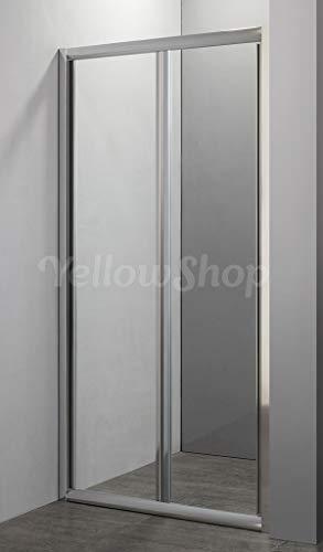 Yellowshop - Porta nicchia libro soffietto pieghevole bagno box doccia cristallo temperato cm 70, 80, 90, 100 (H190) (da cm 86 a 90 (h 190), Trasparente)