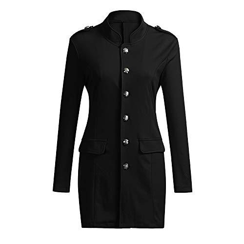 SwissWell Damen Military Blazer Slim fit Militär Elegant Sakkos mit Knopfleiste Military Damen Lang Mantel Schwarz,L