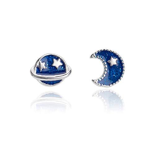 GXJ Llamativo Pendientes de Perno asimétrico del Planeta Azul, hipoalergénico 925 Plata esterlina, Mujeres, niñas, Esposa, Nuevo diseño para 2021 Exquisito