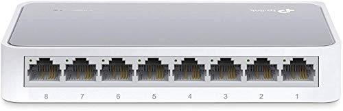 TP-Link TL-SF1008D 8-Port Fast Ethernet-/Netzwerk-/Lan Switch (10/100Mbit/s, automatische Geschwindigkeits- und Duplexanpassung, Plug-und-Play, Auto-MDI/MDIX, lüfterlos) weiß