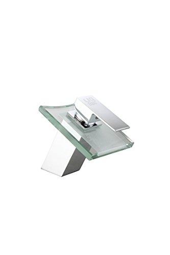 DP Grifería - Grifo monomando de cristal, efecto cascada, color plata, modelo Bambú