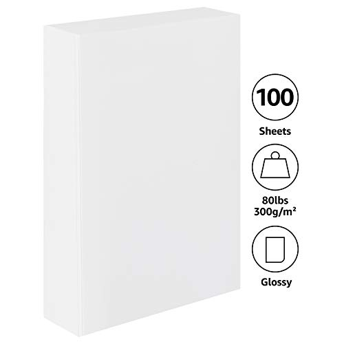 Amazon Basics - Papel fotográfico, brillante, 10 x 15,2 cm, paquete de 100 hojas, 300 g/m²