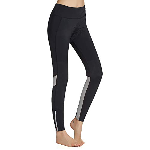 BEROY Pantaloni lunghi da ciclismo da donna, elasticizzati, con imbottitura in spugna 3D, per ciclismo, mountain bike Leggings grigi A1 XXL