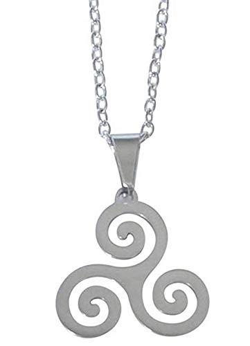 Collana,Ciondolo Triskel Spirale,Teen Wolf, Acciaio Levigato. Cadena 54 cm y ciondolo 3 x 2,7 cm.