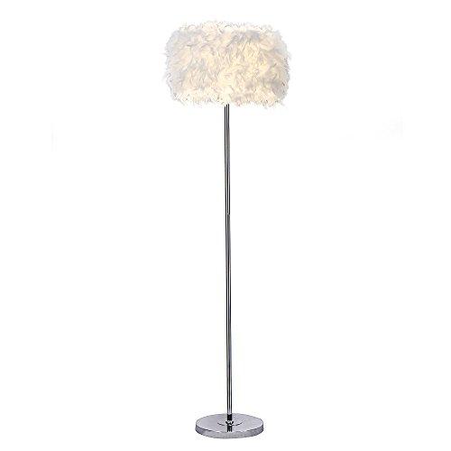 Elinkume Lampadaire, Lampadaire Plume de pure Ombre, Stand Léger pour chambre à Coucher Salle de Séjour, Style Modern Simple (6W, Blanc, à Pédale, Douille de Lampe E27 Lumière Chaude)
