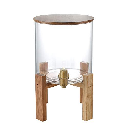 Grifo de gran capacidad tanque de agua de vidrio transparente botella de agua fría jugo barril de bebida barril restaurante comercial hogar barril de agua potable (8L)