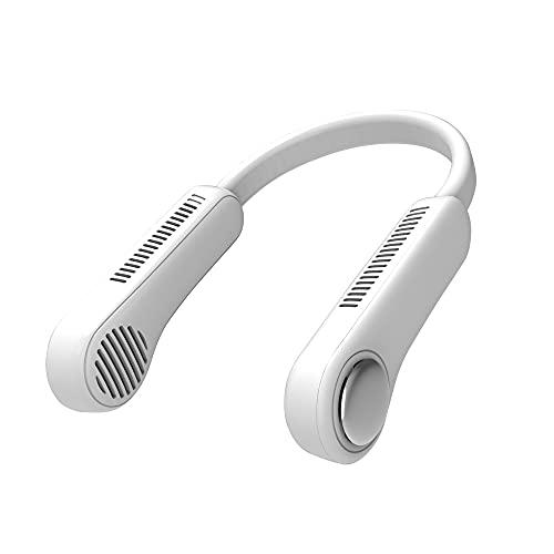 CHENPENG Ventilador de Cuello portátil, Ventilador de enfriamiento de 360 ° sin aspas Manos Libres, diseño de Auriculares, Recargable por USB, 3 velocidades, para Exteriores e Interiores,Blanco