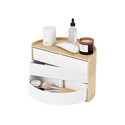 Almacenamiento de joyas Oganizer Caja de organizador de joyería giratoria semicircular, caja de almacenamiento de joyas de mesa de noche multifuncional, almacenamiento en capas de gran capacidad Para