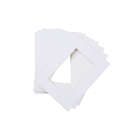 Mat Board White Picture Mats with White Core Pre-Cut 10 Pack 5x7 Bevel Cut for 4x6 Photo Art Prints Acid Free Mat