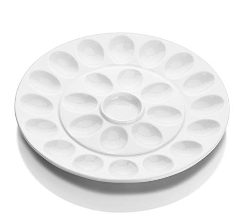 DOWAN 12.6 Inches Porcelain Deviled Egg Dish, Egg Platter with 25 Compartment, Round and White