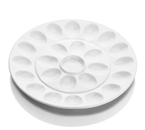 DOWAN Deviled Egg Plate, 12.75 Inches Ceramic Deviled Egg Platter with Sauce Holder, White Egg Dish, Deviled Egg Tray for 24 Eggs