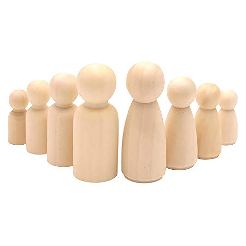 50 muñecas con clavijas de madera, ONEVER personas sin terminar, muñecas de bricolaje decorativas de madera, formas de personas, madera natural para pintar, proyectos de arte artesanal (50 pcs)