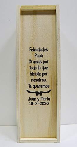 Caja de madera para 1 botella de vino, GRABADA Y PERSONALIZADA con el TEXTO que usted desee. Con TEXTO dedicado para hombre o mujer, regalo práctico y elegante para 1 botella de vino de su elección.