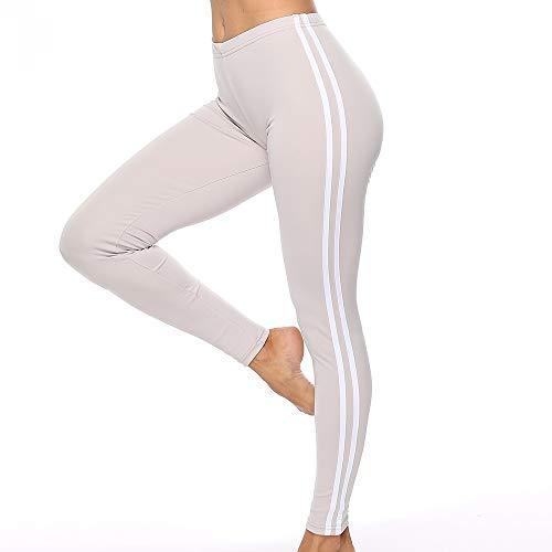 FANGNVREN Yoga Broek, Hoge taille Yoga Broek Dames Fitness Sport Leggings Stripe Elastische Gym Workout Panty S-Xl Hardloopbroek Plus Size Grijze Panty